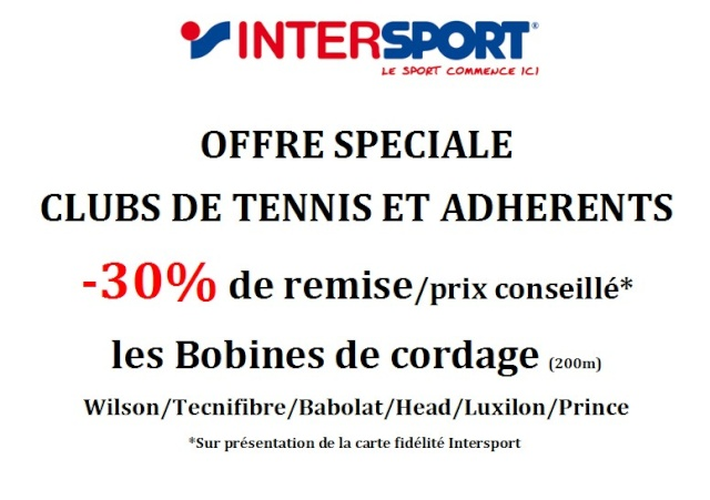 30% de remise sur les bobines de cordage - Intersport Cordag10