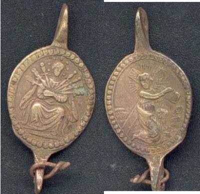 Médaille de chapelet à double bélière - Vierge des Sept douleurs et la Passion du Christ - XVIIIème T_doub10