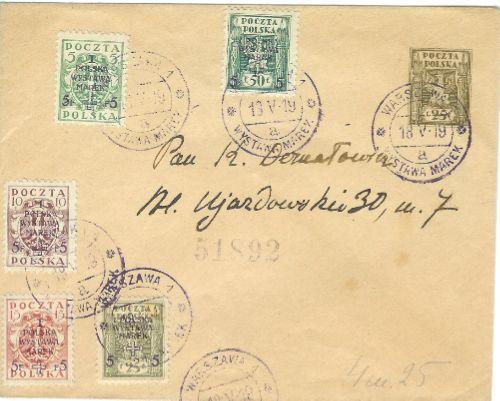 Ganzsache mit Briefmarke Polen 1875 Polen111