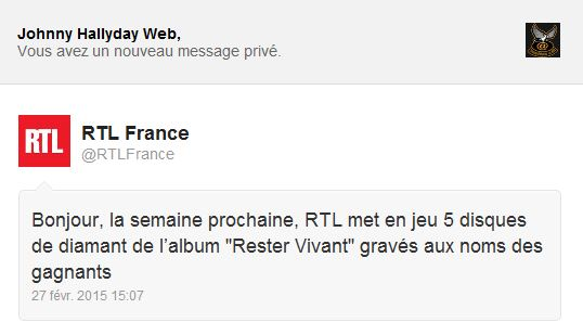 """5 disques de diamant de l'album """"Rester vivant"""" à gagner avec RTL Captur11"""