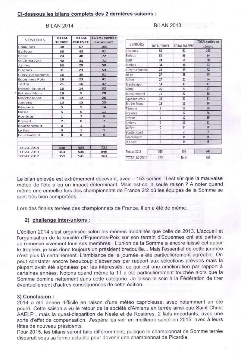 bilan et classements saison 2014 Bilan_11