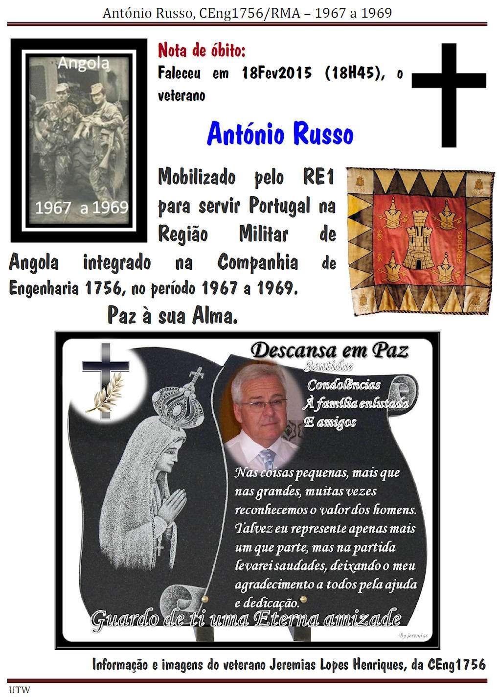 Faleceu o veterano António Russo da CEng1756/RMA - 18Fev2015 Antoni10