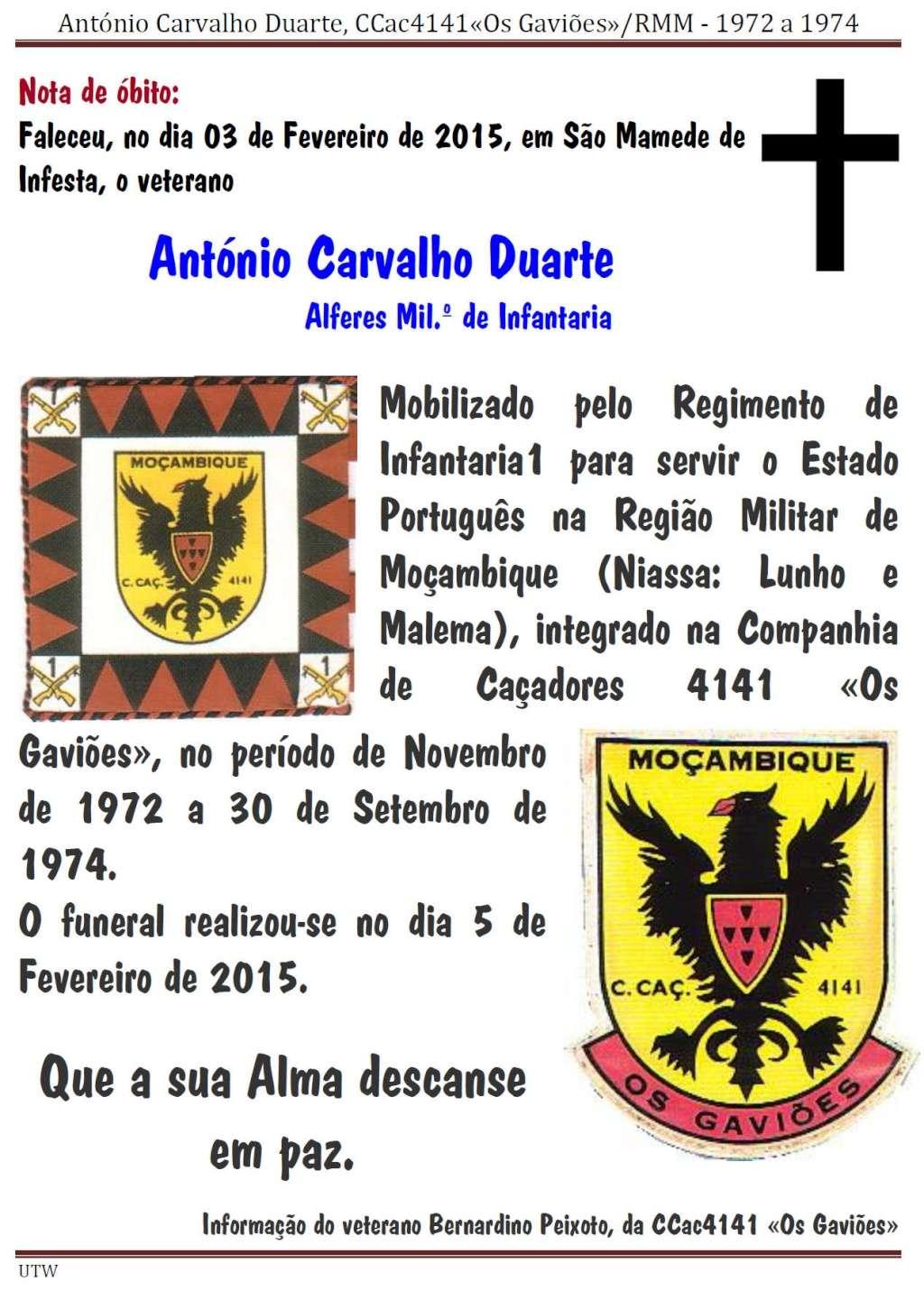 Faleceu o veterano António Carvalho Duarte da CCac4141 «Os Gaviões» - 03Fev2015 Antoni12