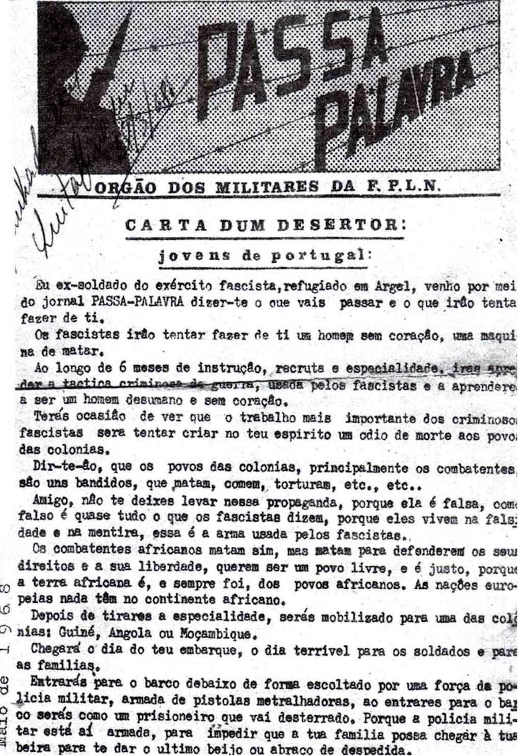 «PASSA PALAVRA» - órgão dos militares da FPLN - Imagens do veterano Fernando Pinto Fpln110