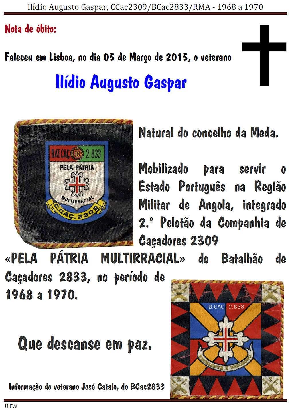 Faleceu o veterano Ilídio Augusto Gaspar, do 2.ºPel/CCac2309 do BCac2833 - 05Mar2015 Ilidio12