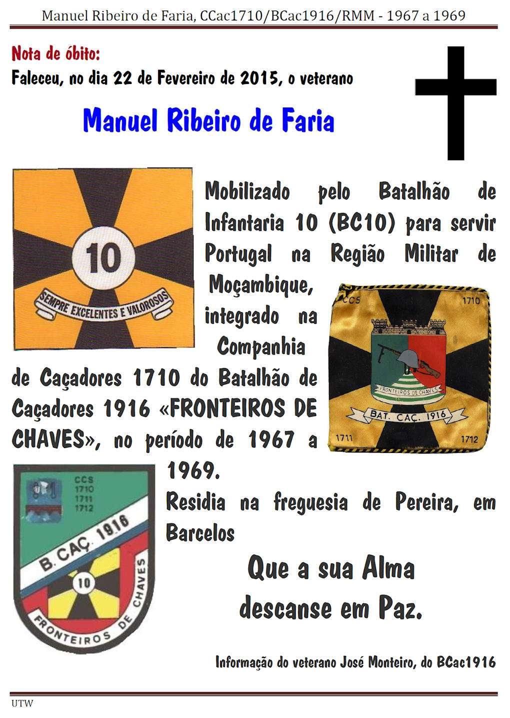 Faleceu o veterano Manuel Ribeiro de Faria da CCac1710/BCac1916 - 22Fev2015 Manuel11