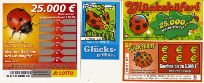 tickets de grattage sur les coccinelles Numari28