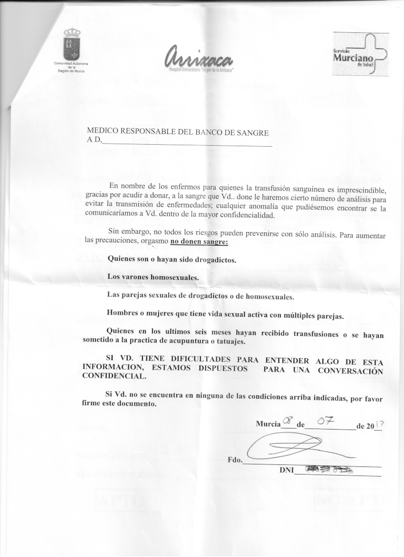 El Hospital Virgen de la Arrixaca ruega a los homosexuales que no donen sangre Arrix10
