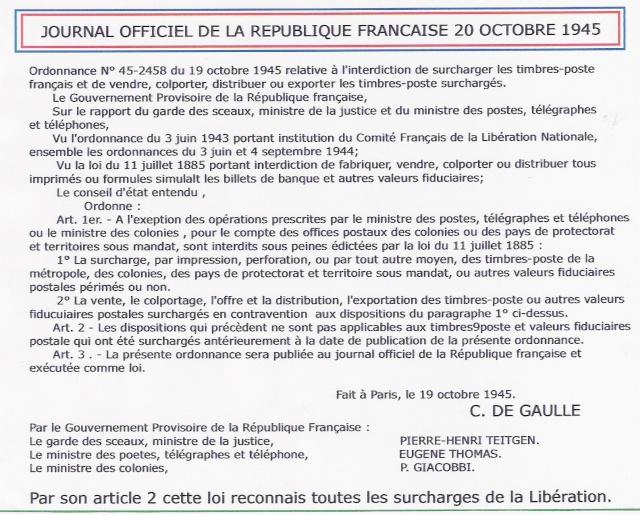 DE GAULLE AU SECOURS DES SURCHARGES DE LA LIBERATION Jo_19-10