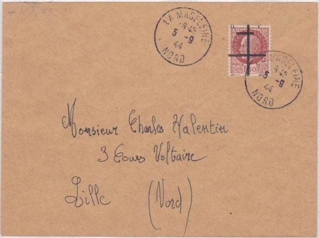 Timbres de la libération de Lille (oblitérations sur lettre). Lille_13
