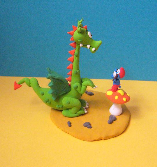 Petits schtroumpfs en pate polymère ( fimo , patarev, pate à modeler ....) Dragon11