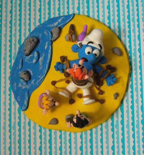 Petits schtroumpfs en pate polymère ( fimo , patarev, pate à modeler ....) Smurf811
