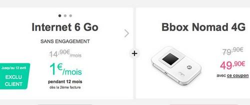 Bouyues Telecom propose à ses clients le Forfait Internet Nomad 6Go à 1€/mois Offre411