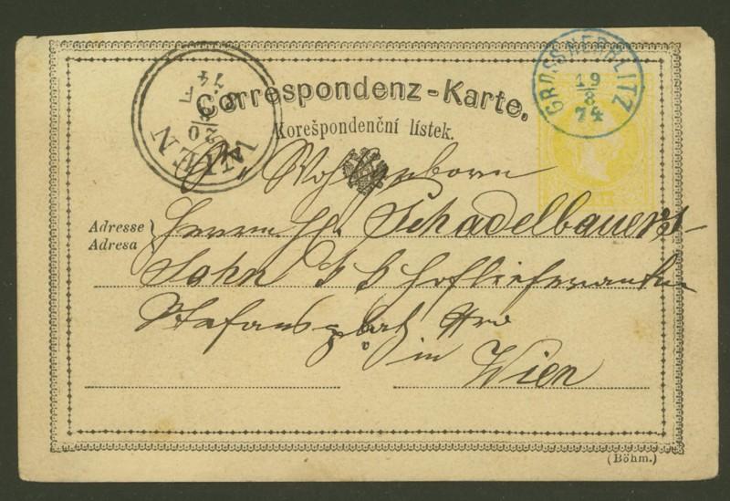 Fingerhutstempel auf Freimarkenausgabe 1867 At_p_110