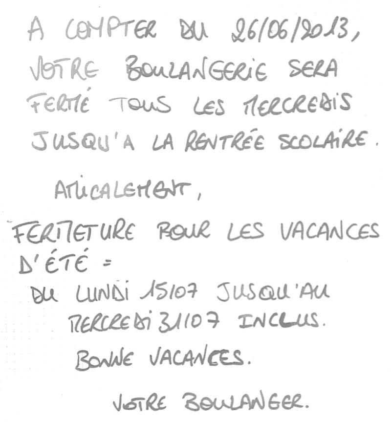 Boulangerie : Horaires de vacances et congés 2013-010