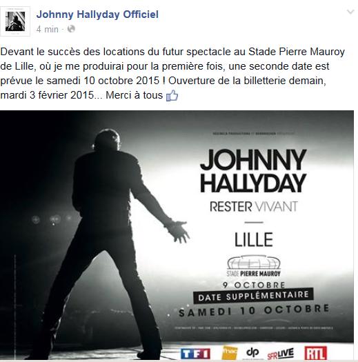"""Tournée 2015/2016 de johnny """"RESTER VIVANT """" Dates de tournée et Part 1 les festivals Captur20"""