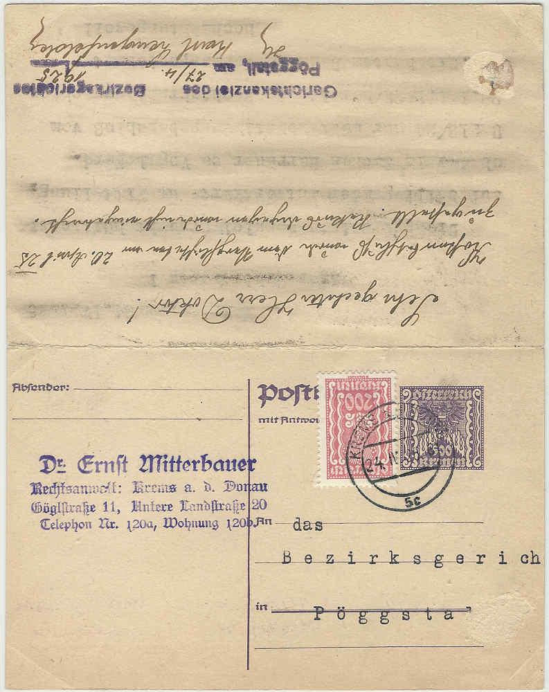 """Postkartenserie """"Quadratischer Wertstempel - Wertziffer im Dreieck"""" 1922-24 - Seite 4 19250410"""