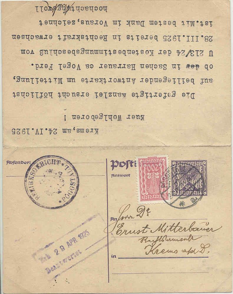 """Postkartenserie """"Quadratischer Wertstempel - Wertziffer im Dreieck"""" 1922-24 - Seite 4 19250411"""