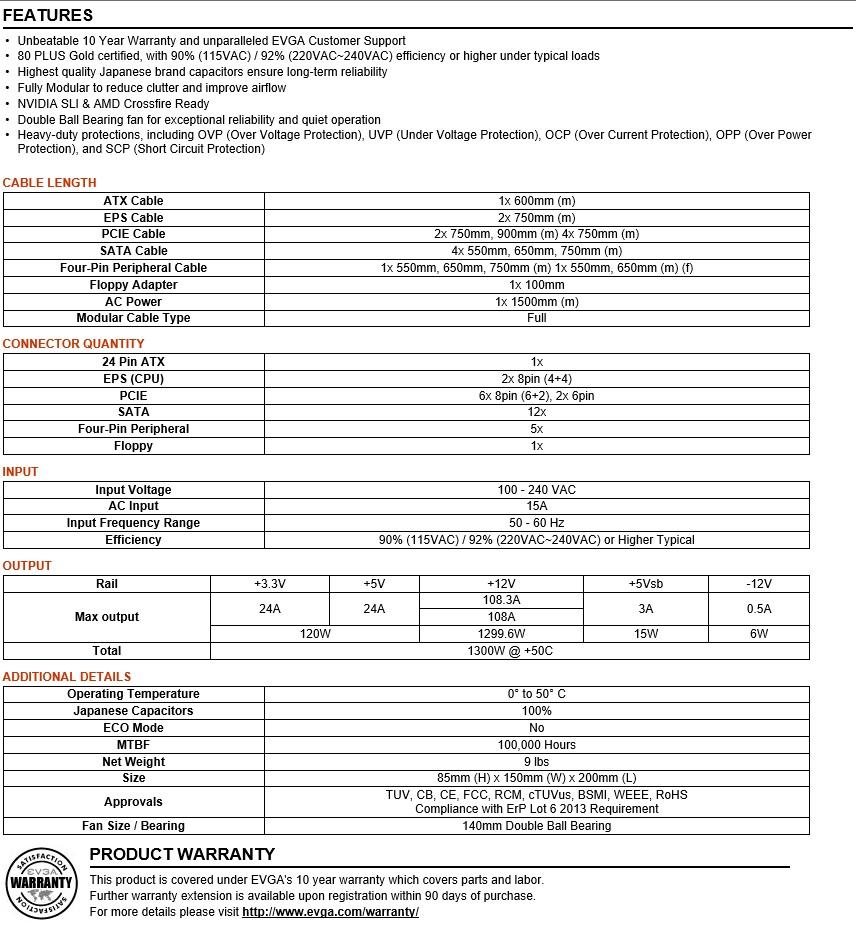 FS- EVGA SuperNOVA 1300 G2 Power Supply 210