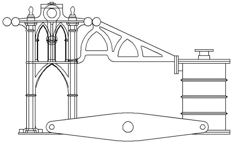 """Dampfmaschine des Dampfbootes """"Königin Maria"""" von 1837 - M1:15 Dkm-0610"""