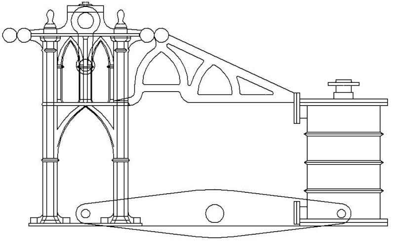 """Dampfmaschine des Dampfbootes """"Königin Maria"""" von 1837 - M1:15 Dkm-0810"""