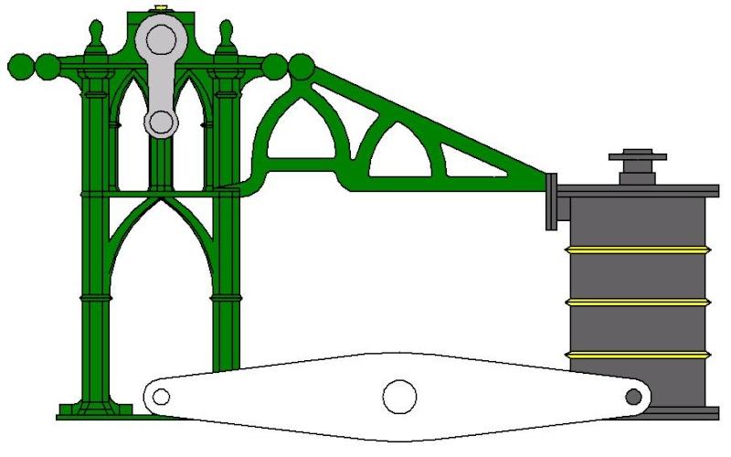 """Dampfmaschine des Dampfbootes """"Königin Maria"""" von 1837 - M1:15 Dkm-0910"""