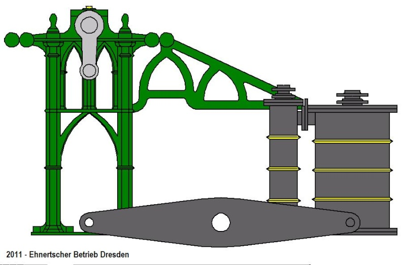 """Dampfmaschine des Dampfbootes """"Königin Maria"""" von 1837 - M1:15 Dkm-1010"""