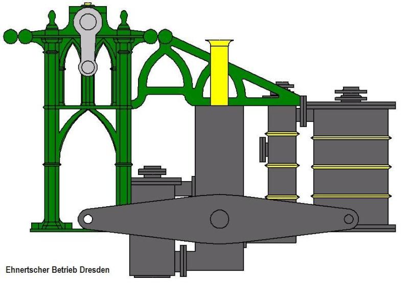 """Dampfmaschine des Dampfbootes """"Königin Maria"""" von 1837 - M1:15 Dkm-1210"""