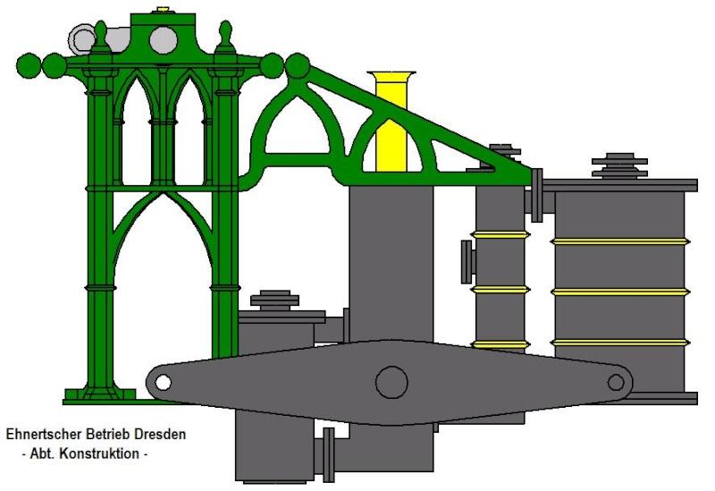"""Dampfmaschine des Dampfbootes """"Königin Maria"""" von 1837 - M1:15 Dkm-1213"""