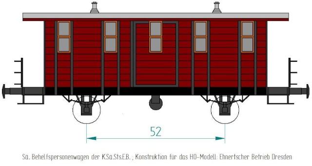 Behelfs-Personenwagen der K. Sächs. Sts. E.B. in HO  die zweite Sae-wa10