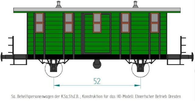 Behelfs-Personenwagen der K. Sächs. Sts. E.B. in HO  die zweite Sae-wa11
