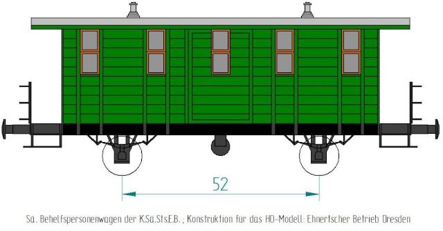 Behelfs-Personenwagen der K. Sächs. Sts. E.B. in HO  die zweite Sae-wa12