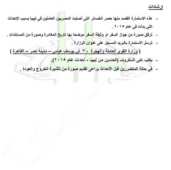 استمارة حصر المصريون العائدون من ليبيا 2015م 218