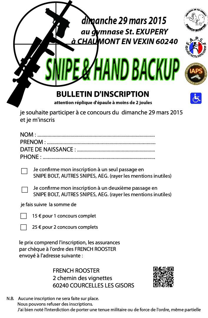 """en concours en mars 2015 """"SNIPE & HAND BACKUP"""" Inscri10"""