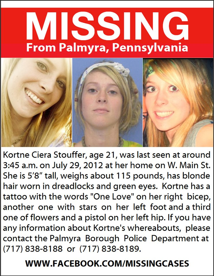Police search for Kortne Stouffer missing from Palmyra, PA since July 29, 2012/Father says Kortne disappeared amid volatile circumstances.  52856110