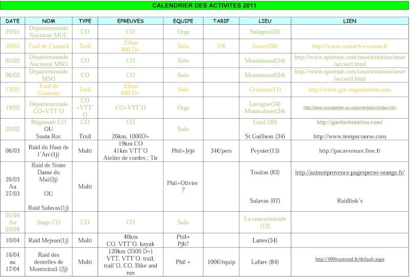 Programme courses 2011 Calend10