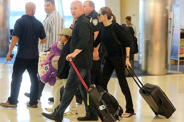 Angelina and Pax JFK airport arrival..New York..June 24th 2013 00002011