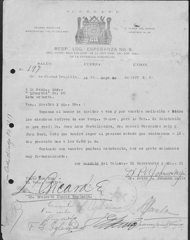 Invitación para la Iniciación de Juan Bosch 19041510