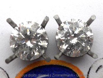 Boucle oreille diamants avec chaton en palladium Bopab014