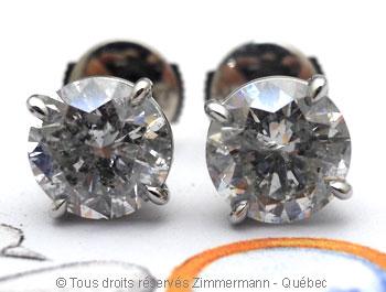 Boucle oreille diamants avec chaton en palladium Bopab018
