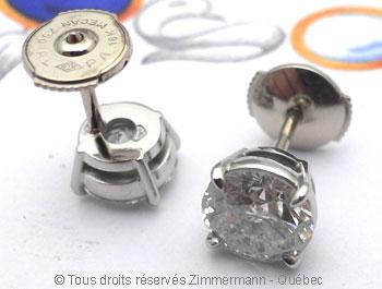 Boucle oreille diamants avec chaton en palladium Bopab020