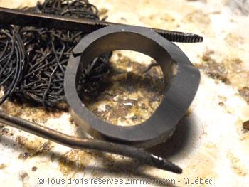 Chevalière or sertie d'un saphir étoilé synthétique Cvoc0114