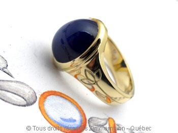 Chevalière or sertie d'un saphir étoilé synthétique Cvoc0121