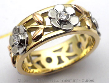 Anneau ajouré, or jaune, palladium, or rose et diamants Joopab15