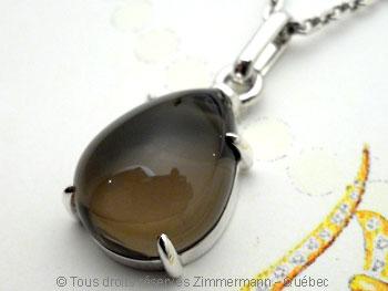Pendentif cabochon agate verte serti griffe Peac4310
