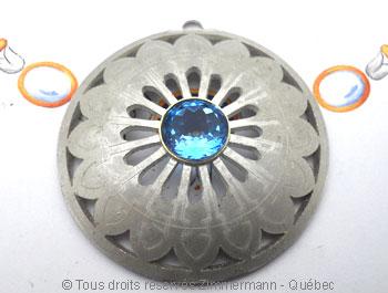 Rosace argent et topaze bleue facettée sertie or Peaf9012