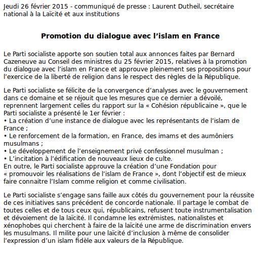 """Le Parti socialiste appelle au """"développement de l'enseignement privé confessionnel musulman"""" en France. Social10"""