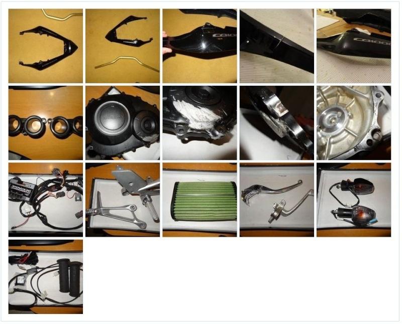 VDS divers pieces : Coque AR, leviers, clignos, PC3, cornets, carter, poignées chauffantes Alebec10
