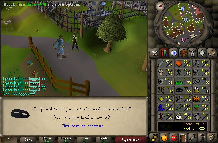 99 thieving! THE FIRST OF THE SERVERRR. ;D Thievi20