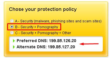 طريقة منع المواقع الفاسدة بدون برامج عن طريق موقع Norton ConnectSafe  410